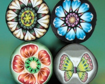 CLEARANCE SALE Set of 4 Polymer Clay Mini Flower Canes (PP)
