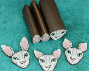 Set of 3 SPHYNX Polymer Clay Cat Cane Kit -'Here Kitty Kitty' (38bb)
