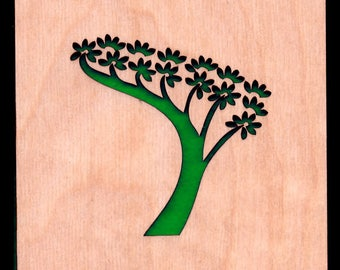 4 Bonsai Coasters wooden laser cut natural eco-friendly Waterproof plywood birch and Felt