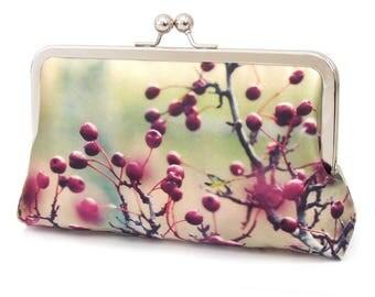 Red berries clutch bag, silk purse, flower bag, pink, red, green, woodland wedding, HAWTHORN