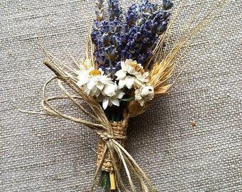 Bridal Wedding  Pin On Corsage, Wrist Corsage or Boutonniere of Lavender Wheat and Everlasting Daisy Dried Flowers