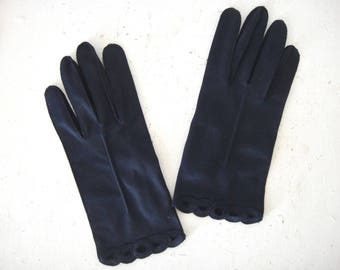 Vintage Navy Blue Fabric Gloves, Ladies, Formal, Boxed Fingers, Scalloped Eyelet Detail