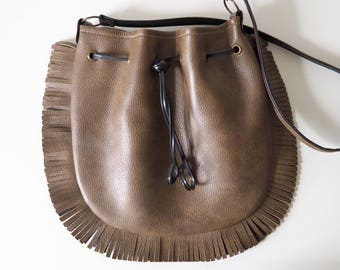 Fringed Drawstring Faux Leather Cross Body Bag