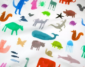 Remnant 12X58 - Colorful Wild Animals fabric - designed by Katie Vernon - digitally printed on 100% lightweight cotton - DPA217181