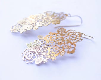 Gold Dangle Earrings, Gold Lace long  Earrings, Big Earrings, Modern  Jewelry