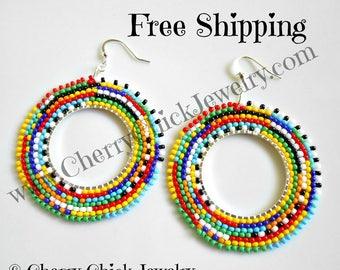 Beaded Hoop Earrings - Tribal Seed Bead Earrings - Boho Seed Bead Hoop Earrings - Free Shipping