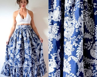SALE SECTION / 50% off Vintage 70s Navy Blue and White Floral Print Cotton Voile High Waisted Maxi Skirt (size xxs, xs)