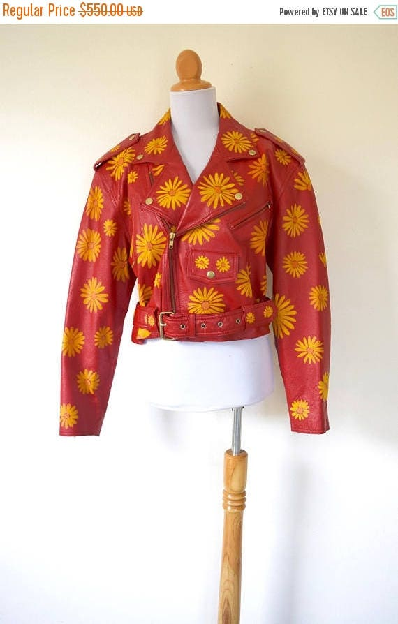 SUMMER SALE / 20% off Vintage 80s 90s Hand Painted Siren Red Leather Flower Power Cropped Motorcycle Jacket (size medium, large)