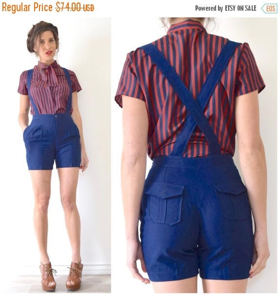 SUMMER SALE / 20% off Vintage 80s 90s Navy Blue Suspender Shorts (size extra small, small)