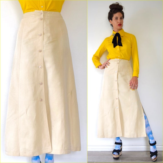 Vintage 90s ESCADA Crisp Ivory Silk and Linen High Waisted Button Front A Line Midi Skirt (size small)