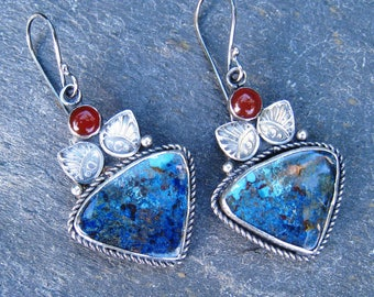 Azurite, Carnelian and Sterling Silver Stamped Dangle Earrings with Granulation - blue gemstone with orange accent statement earrings