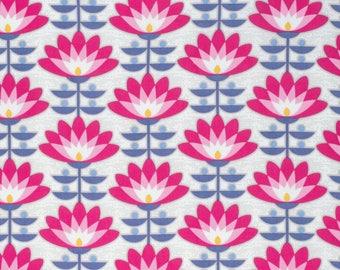 Joel Dewberry Fabric, Atrium, Deco Bloom, Fuchsia, Floral, cotton quilting fabric - HALF YARD