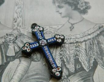 Antique Italian Micro Mosaic  Pendant - Fine Millefiori jewelry cross - Blue cross pendant micro mosaic - 19th century micro-mosaic cross