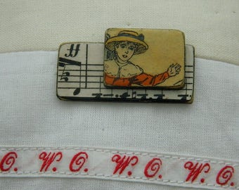 Brooch - Antique paper and wooden chips brooch - Handmade jewelry - handmade brooch -  1930 graphic - Girls and music paper.