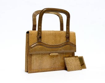 Vintage Snakeskin Bag, Top handle handbag, Blok van Heijst tan leather bag