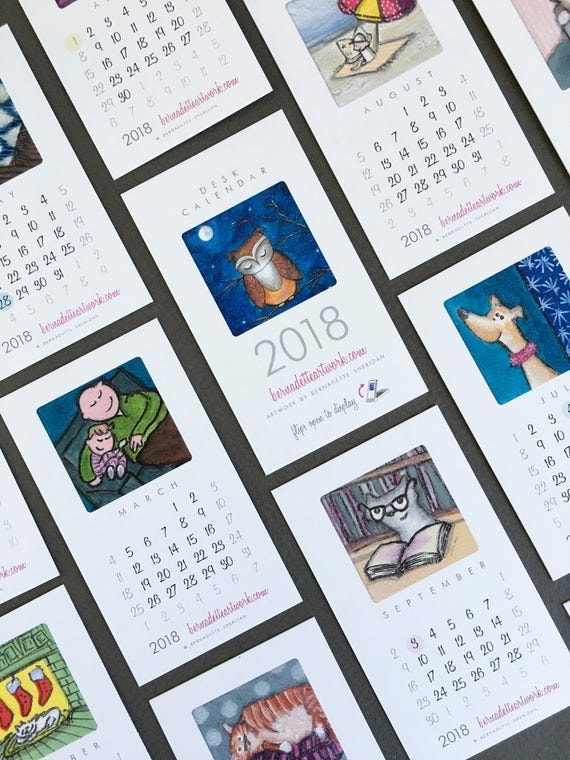 2018 mini desk calendar, small desk calendar with stand, mini calendar, 2018 desk calendar, coworker gift, new job gift, Bernadette Artwork