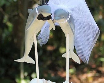 Dolphin Wedding Cake Topper, Bottle Nose Dolphin Cake Topper, Beach Wedding Cake Topper, Fish Animal Cake Topper,  Bride and Groom,