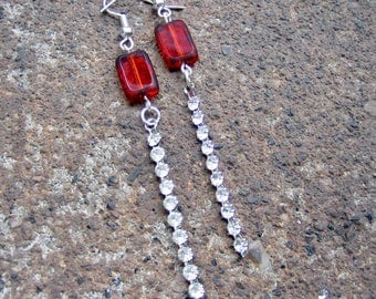 Eco-Friendly Dangle Earrings - Puttin' On The Ritz - Recycled Vintage Ruby Red Glass Beads and Clear Rhinestone Strips