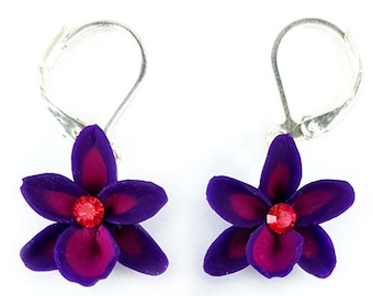 Petite Rhinestone Orchid Earrings - Orchid Crystal Earrings, Unique Orchid Jewelry