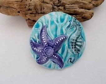 Handmade Ceramic Starfish and Seahorse Focal Pendant