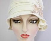 Vanilla Cream Flapper Cloche with Beaded Applique // Handmade Hat, Fabric hat