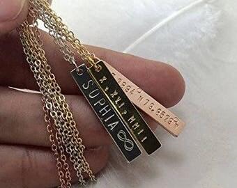 Bar Necklace Roman Numeral Necklace Coordinates Necklace Personalized  Necklace Name bar Nameplate necklace Bridesmaids Gift Gold bar