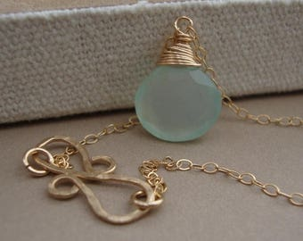 ON SALE Chalcedony Necklace and Infinity Hammered Pendant all GOLD Filled bridal, wedding necklace, everyday jewelry
