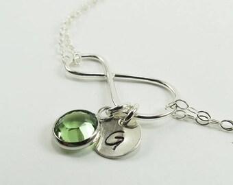 ON SALE Infinity Bracelet, Birthstone Bracelet, Personalized Infinity Bracelet with Birthstone Charm, Swarovski Crystals, Bridal Bridesmaids