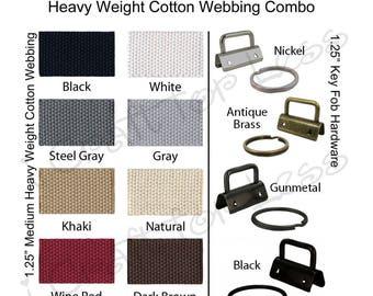 10 Key Fob Hardware / 5 Yards Medium-Heavy Cotton Webbing Combo - 1.25 Inch - Plus Instructions - SEE COUPON