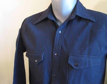 Charming 30s Cowboy Shirt Vintage Wool 30s Shirt Western pockets and Yoke Depression era 1930s Shirt S M