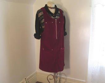 Berry Vintage Corduroy Dress 90s corduroy dress vintage  Burgundy corduroy dress S - M