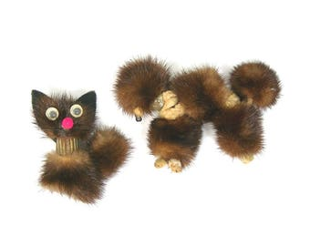 Real Mink Cat and Dog Brooches - Vintage 1940s Figural Jewelry - Google Eye Cat - Poodle Dog - Two Pins - Brown Mink Fur - 2 Animal Brooches