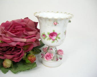 "Lefton Porcelain Vase Urn - Applied Pink Roses and Leaves - Hand-painted - Gold Trim- 5"" High - Cottage Chic Home Decor - Vanity Container"