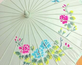 Under My Umbrella... Vintage Asian Hand Painted Handpainted Parasol Umbrella Childs Bedroom Nursery Decor Bohemian Boho