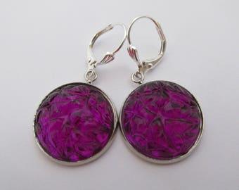 Acrylic Baroque Cabochon Earrings - Purple