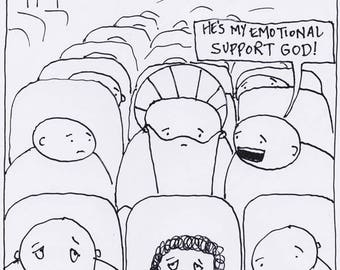 Emotional Support God CARTOON