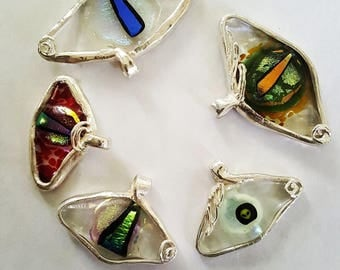 Silver and Dichroic Glass Eye Pendant