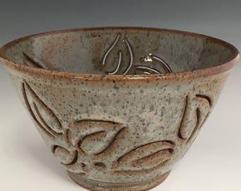 Ceramic Berry Bowl Blue Brown Berry Bowl Serving Bowl Colander