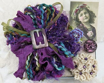 Sweet Petite Snippets...Plum Pretty...Mini Embellishment Inspiration Kit, snippet rolls, gift tags, cards,ATC,collage,crazy quilting