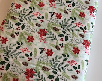 Christmas Fabric by the Yard, FabricShoppe, Comfort and Joy by Riley Blake, Christmas Quilt fabric, Comfort Main in Cream