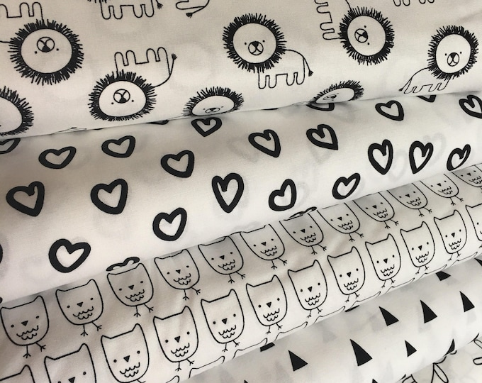 Penned Pals Fabric Bundle of 5, Black and White Nursery, Black and White fabric, Owl fabric, Novelty fabric by Ann Kelle- Choose the cuts