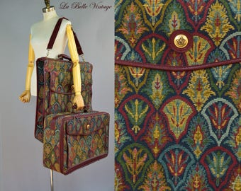 DVF Tapestry Luggage Set ~ Vintage Folding Garment Suit Bag Travel Suit Case ~ Diane Von Furstenberg Suitcase