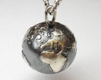 CLOSING SALE Realistic planet earth pendant in sterling silver - World, planet, globe, terrestrial
