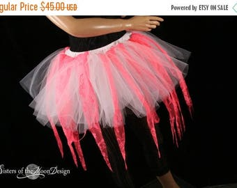 SALE Coral Fairy ragged tutu adult skirt custome dance halloween white UV rave lace run race gogo - Ready to ship - Small- Sisters of the Mo
