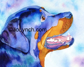 Rottweiler Print from Watercolor painting - A Rotty Portrait-Rottweiler Painting-Art painting Dog- Rottweiler-Jo Lynch