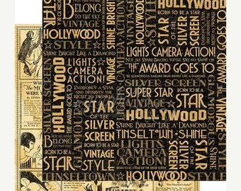 SPRING Graphic 45 Vintage Hollywood Silver Screen Scrapbook Paper