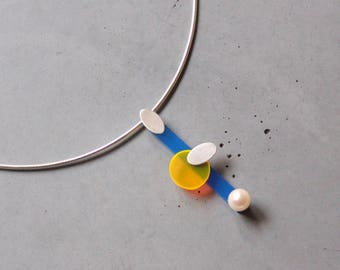 Eclectic Style Sterling Silver Necklace with Mother of Pearl, Blue and Yellow Plexi, Contemporary Jewelry, Avant Garde