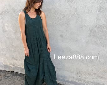 Green plaid lagenlook dress with pockets