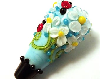 Daisies and Lady Bugs Sky Blue Focal Bead