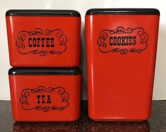 Vintage Red 3 Piece Plastic Nesting Canister Set * Cookie Jar Coffee Tea *